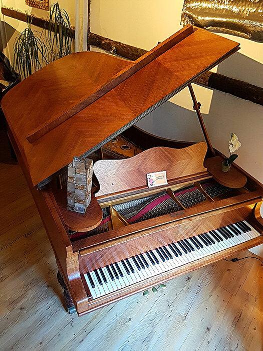 En palissandre frisé, ce piano légendaire de Steinway, datant du début du siècle dernier est une.